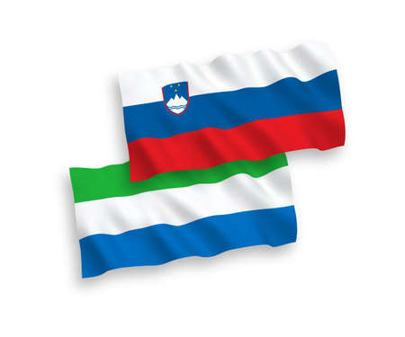 National vector fabric wave flags of Slovenia and Sierra Leone isolated on white background. 1 to 2 proportion.