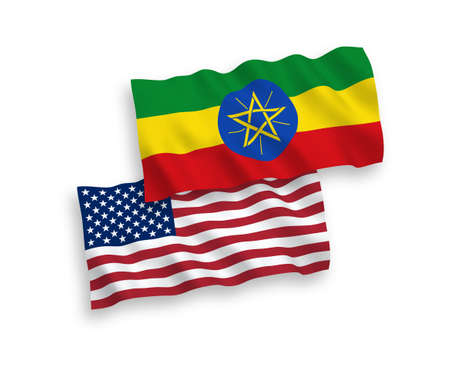 National vector fabric wave flags of Ethiopia and USA isolated on white background. 1 to 2 proportion.