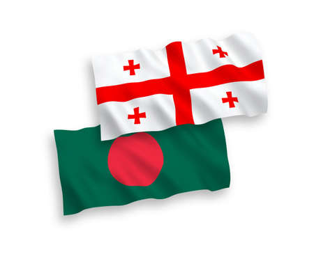 National vector fabric wave flags of Bangladesh and Georgia isolated on white background. 1 to 2 proportion.