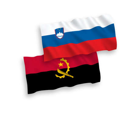 National vector fabric wave flags of Slovenia and Angola isolated on white background. 1 to 2 proportion.