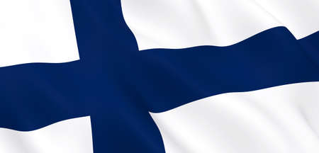 National Fabric Wave Closeup Flag of Finland Waving in the Wind. 3d rendering illustration.