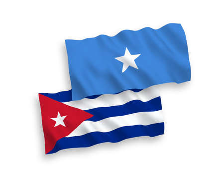 National vector fabric wave flags of Somalia and Cuba isolated on white background. 1 to 2 proportion. Illusztráció