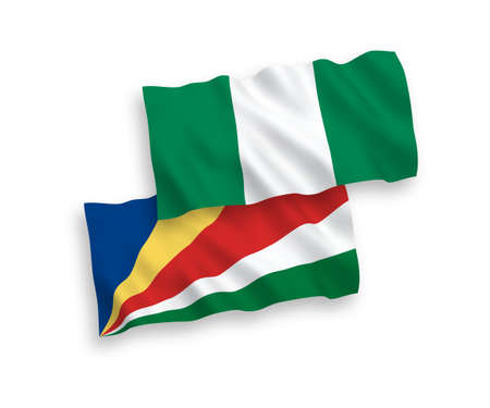 National vector fabric wave flags of Seychelles and Nigeria isolated on white background. 1 to 2 proportion. Illusztráció