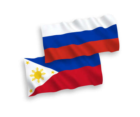 National vector fabric wave flags of Philippines and Russia isolated on white background. 1 to 2 proportion.