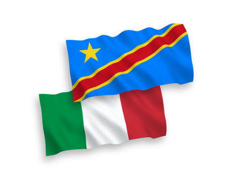 National vector fabric wave flags of Italy and Democratic Republic of the Congo isolated on white background. 1 to 2 proportion.