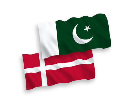 National vector fabric wave flags of Denmark and Pakistan isolated on white background. 1 to 2 proportion.