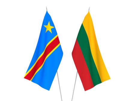 National fabric flags of Lithuania and Democratic Republic of the Congo isolated on white background. 3d rendering illustration.