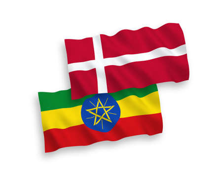 National vector fabric wave flags of Denmark and Ethiopia isolated on white background. 1 to 2 proportion.