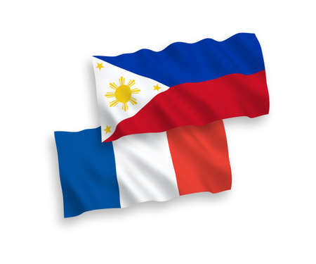 National vector fabric wave flags of France and Philippines isolated on white background. 1 to 2 proportion.