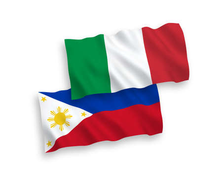 National vector fabric wave flags of Italy and Philippines isolated on white background. 1 to 2 proportion.