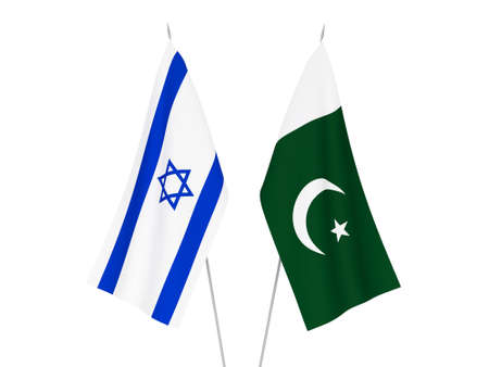 National fabric flags of Pakistan and Israel isolated on white background. 3d rendering illustration.