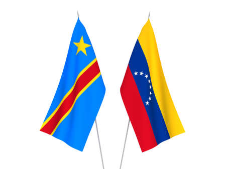 National fabric flags of Democratic Republic of the Congo and Venezuela isolated on white background. 3d rendering illustration.