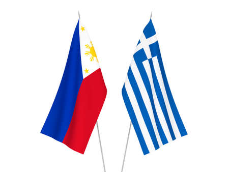 National fabric flags of Greece and Philippines isolated on white background. 3d rendering illustration. 스톡 콘텐츠
