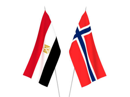 National fabric flags of Norway and Egypt isolated on white background. 3d rendering illustration. 스톡 콘텐츠