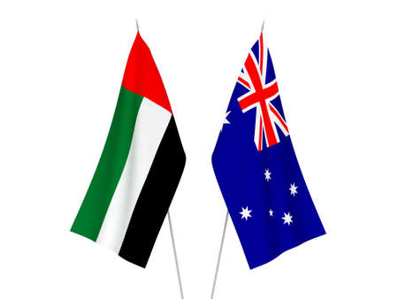 National fabric flags of Australia and United Arab Emirates isolated on white background. 3d rendering illustration. 스톡 콘텐츠