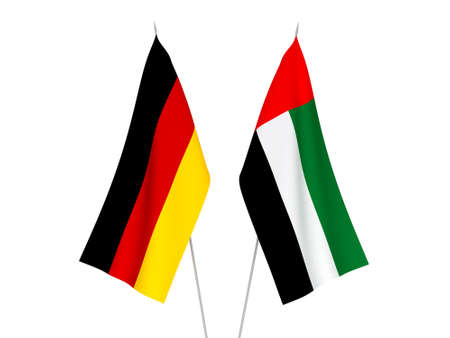 National fabric flags of Germany and United Arab Emirates isolated on white background. 3d rendering illustration.