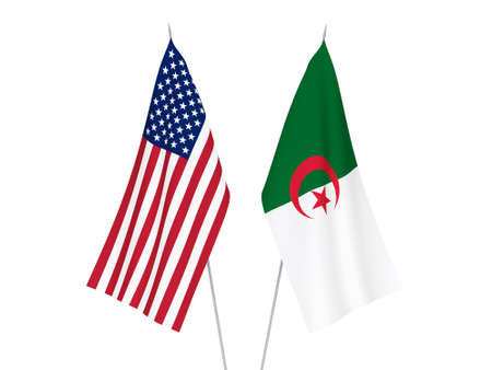 National fabric flags of America and Algeria isolated on white background. 3d rendering illustration. 스톡 콘텐츠