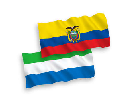 National vector fabric wave flags of Sierra Leone and Ecuador isolated on white background. 1 to 2 proportion.