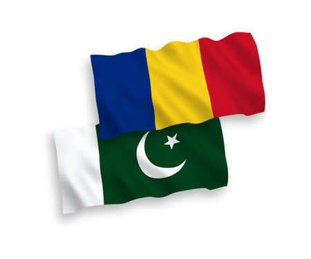 National vector fabric wave flags of Romania and Pakistan isolated on white background. 1 to 2 proportion.