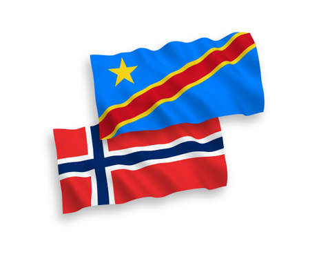 National vector fabric wave flags of Norway and Democratic Republic of the Congo isolated on white background. 1 to 2 proportion.