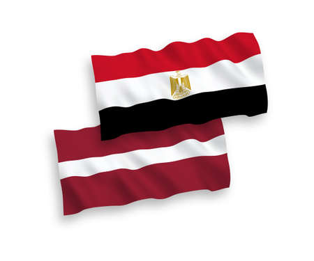 National vector fabric wave flags of Latvia and Egypt isolated on white background. 1 to 2 proportion. Vectores