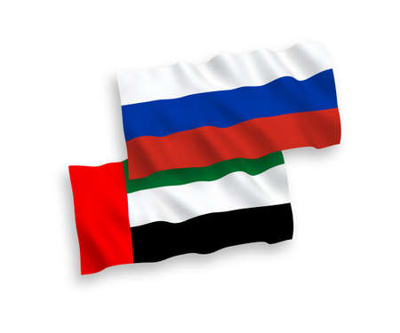 National vector fabric wave flags of United Arab Emirates and Russia isolated on white background. 1 to 2 proportion. 일러스트