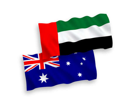 National vector fabric wave flags of Australia and United Arab Emirates isolated on white background. 1 to 2 proportion. 일러스트