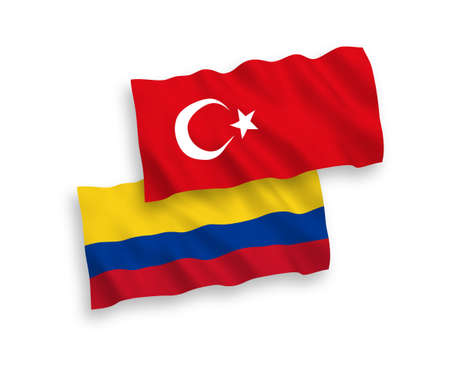 National vector fabric wave flags of Turkey and Colombia isolated on white background. 1 to 2 proportion.