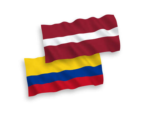 National vector fabric wave flags of Latvia and Colombia isolated on white background. 1 to 2 proportion.