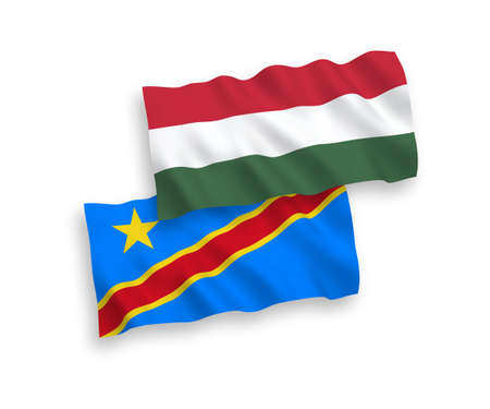 National vector fabric wave flags of Democratic Republic of the Congo and Hungary isolated on white background. 1 to 2 proportion.
