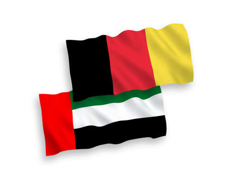 National vector fabric wave flags of United Arab Emirates and Belgium isolated on white background. 1 to 2 proportion. 일러스트