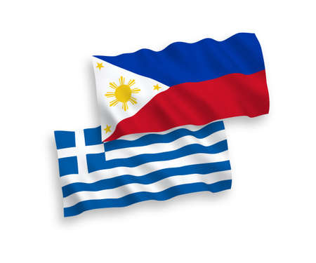 National vector fabric wave flags of Greece and Philippines isolated on white background. 1 to 2 proportion. Çizim