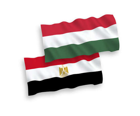 National vector fabric wave flags of Egypt and Hungary isolated on white background. 1 to 2 proportion. Illusztráció