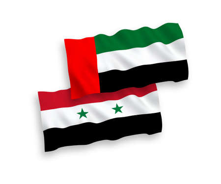 National vector fabric wave flags of United Arab Emirates and Syria isolated on white background. 1 to 2 proportion.