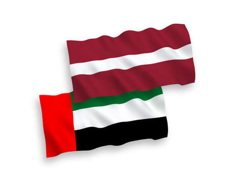 National vector fabric wave flags of Latvia and United Arab Emirates isolated on white background. 1 to 2 proportion.
