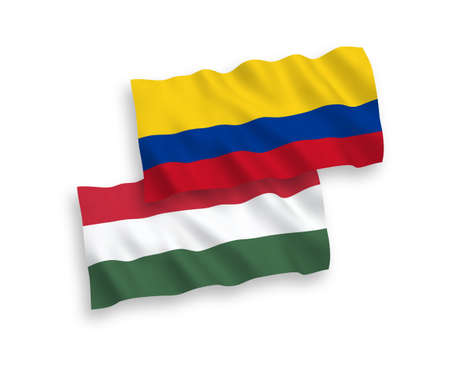 National vector fabric wave flags of Colombia and Hungary isolated on white background. 1 to 2 proportion.