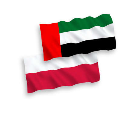National vector fabric wave flags of United Arab Emirates and Poland isolated on white background. 1 to 2 proportion.