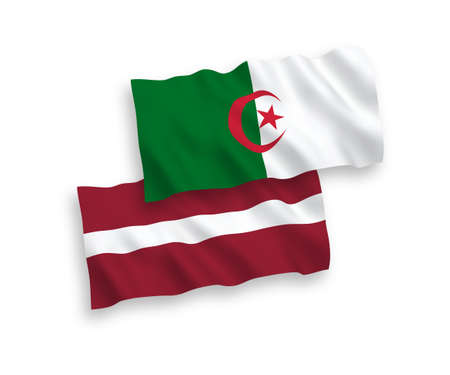 National vector fabric wave flags of Latvia and Algeria isolated on white background. 1 to 2 proportion.