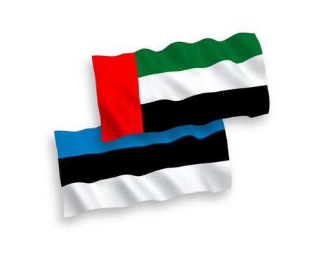 National vector fabric wave flags of Estonia and United Arab Emirates isolated on white background. 1 to 2 proportion.