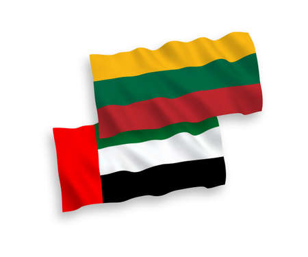 National vector fabric wave flags of Lithuania and United Arab Emirates isolated on white background. 1 to 2 proportion.