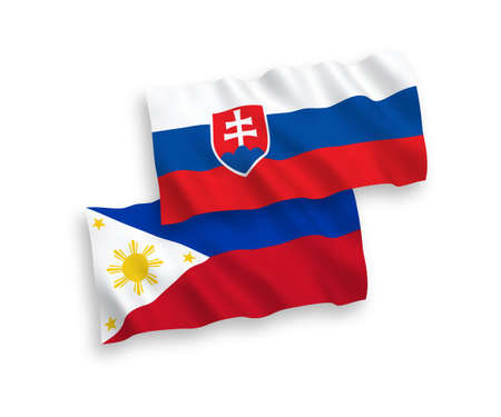 National vector fabric wave flags of Slovakia and Philippines isolated on white background. 1 to 2 proportion.