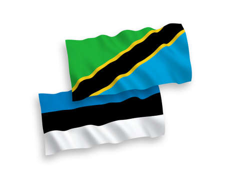 National vector fabric wave flags of Estonia and Tanzania isolated on white background. 1 to 2 proportion.