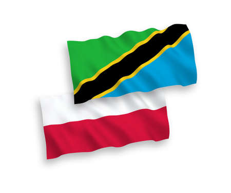 National vector fabric wave flags of Tanzania and Poland isolated on white background. 1 to 2 proportion.