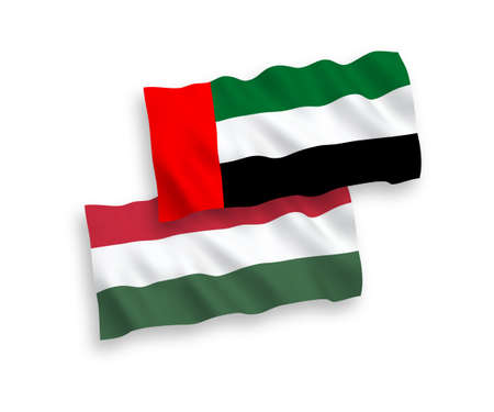 National vector fabric wave flags of United Arab Emirates and Hungary isolated on white background. 1 to 2 proportion.