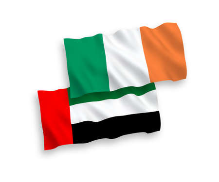 National vector fabric wave flags of Ireland and United Arab Emirates isolated on white background. 1 to 2 proportion.