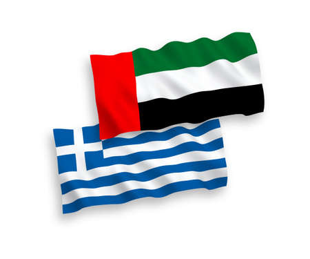 National vector fabric wave flags of Greece and United Arab Emirates isolated on white background. 1 to 2 proportion. 일러스트