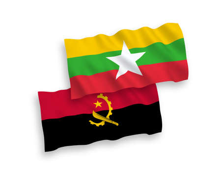 National vector fabric wave flags of Angola and Myanmar isolated on white background. 1 to 2 proportion.
