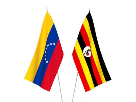 National fabric flags of Uganda and Venezuela isolated on white background. 3d rendering illustration.