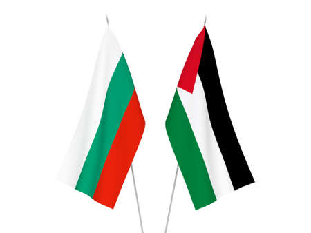 National fabric flags of Bulgaria and Palestine isolated on white background. 3d rendering illustration.