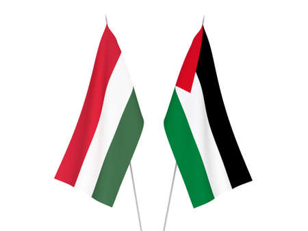 National fabric flags of Palestine and Hungary isolated on white background. 3d rendering illustration. 版權商用圖片